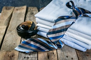 Selection of male clothes - stack of
