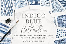 80 Indigo Blue Watercolor Patterns by  in Patterns