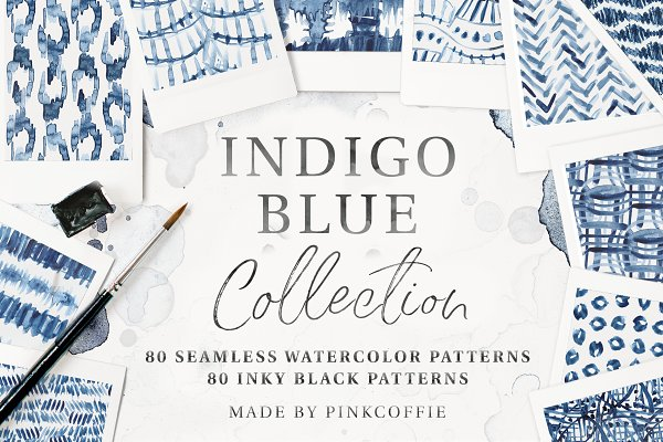 Patterns: Pink Coffie - 80 Indigo Blue Watercolor Patterns