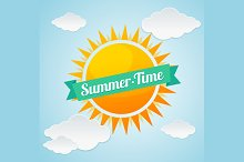 Vector summer time card