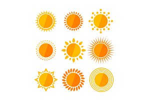 Vector sun flat set
