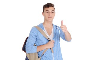 Young student with backpack doing th