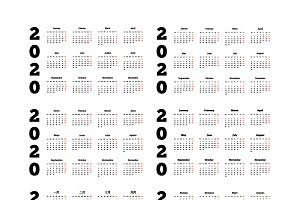Set of 2020 year simple calendars