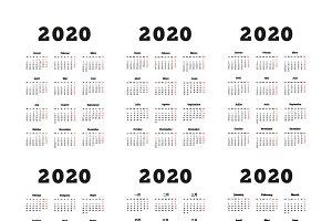 2020 year simple vertical calendars