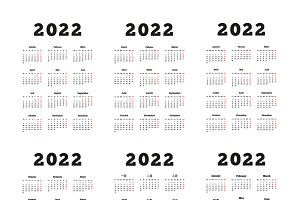 2022 year simple vertical calendars