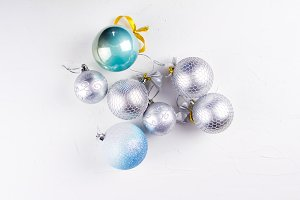 Nice christmas balls in silver and b