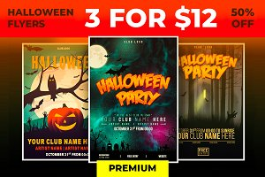 3 Premium Halloween Flyers - 50% OFF