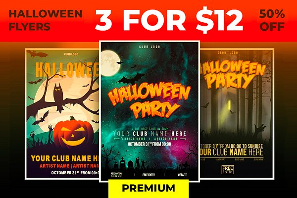 3 Premium Halloween Flyers - 50% OF…
