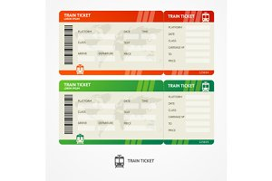 Vector train tickets.