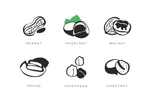 Nuts and seeds icons set, peanut