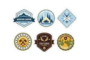 Mountain camping retro logo badges