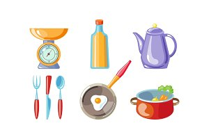 Kitchen utensil set, scales, bottle