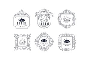 Monogram logo templates set, luxury