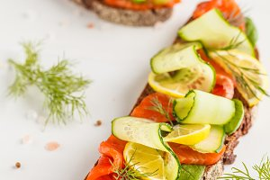 Sliced trout (salmon) fish sandwich