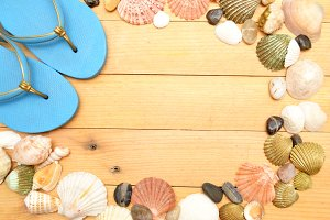 summer shoes and shells