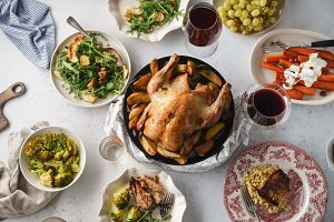 Big festive dinner with roasted chic