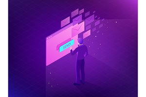 Isometric Email Inbox Electronic