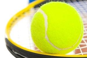 247n Closeup on tennis ball on racke