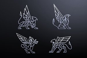 Set of griffin logos