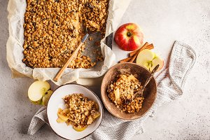 Autumn apple crumble pie