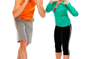 280n Fitness girl and man in sportsw
