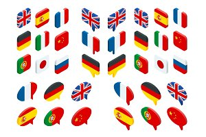 Isometric set flags of the world