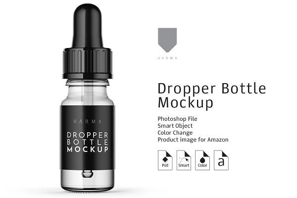 Dropper Bottle Mockup 2 PSD Mockup - 3d Wall Logo Mockup