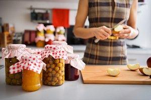 345n Preserved fruit in glass jars w