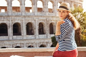 349n tourist woman in Rome, Italy wi
