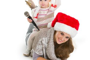 387n Baby girl in Christmas hat with