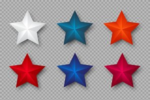 Set of 3d stars in colors of USA.