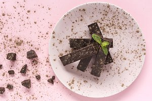 Chocolate with mint. Flat lay