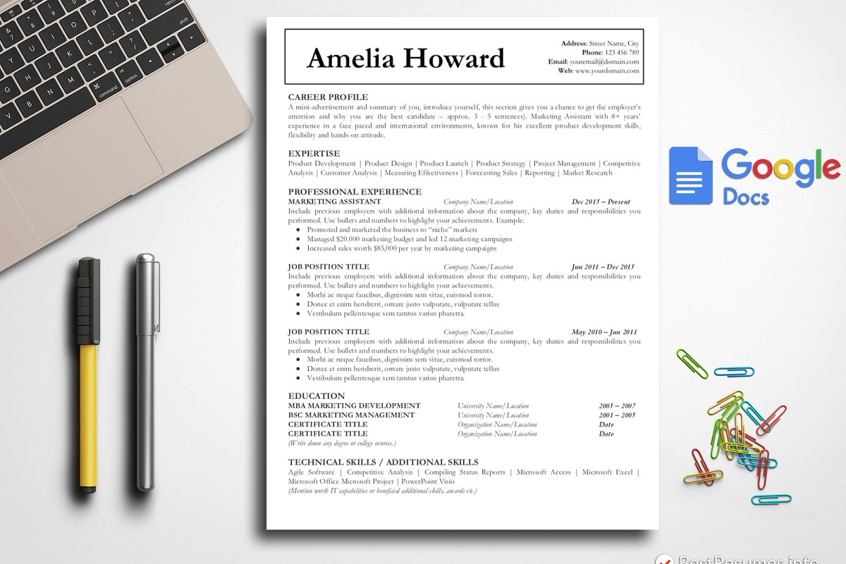 Simple Cv Resume Template Google Doc Resume Templates