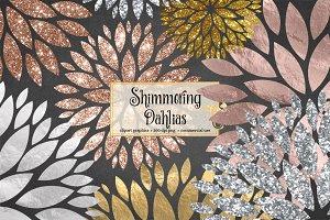Shimmering Dahlias Clipart