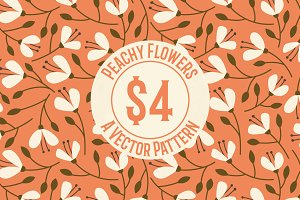 Peachy Flowers Repeat Vector Pattern