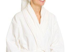 443n Happy young woman in bathrobe l