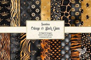 Orange and Black Glam Digital Paper