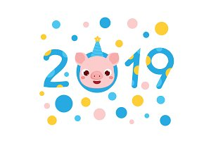 2019 new year banner with pig face