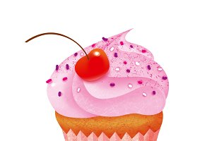 Cupcake with cherry isolated with on
