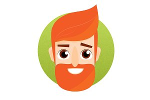 Cartoon bearded man face