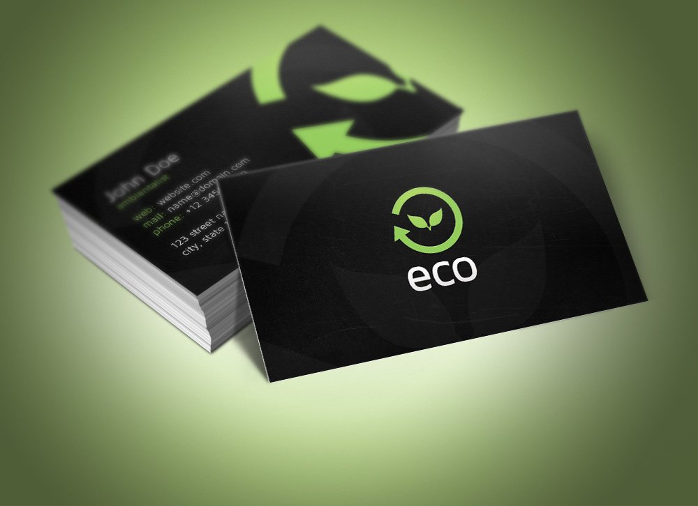 Eco business card business card templates creative market reheart Gallery