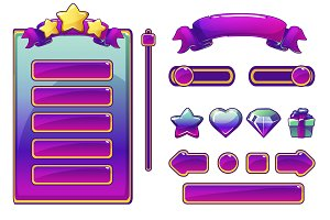 Cartoon purple assets and buttons