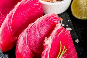 Fresh raw tuna fish