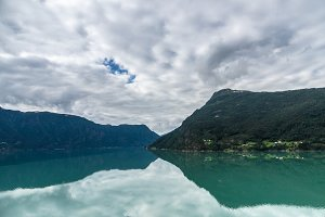 Fjord landscape reflection