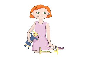 The girl plays a doll. Vector color