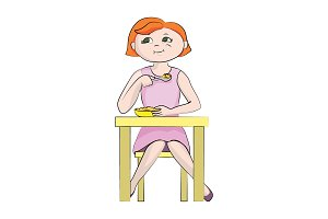 The girl (child) eats at the table.