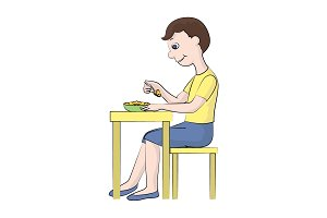 The boy eats at the table. Vector