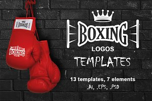 Set of vintage boxing emblems