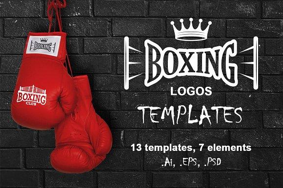 Set of vintage boxing emblems logo templates creative for Posters para gimnasios