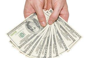 Money dollars in the hands